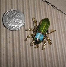Vintage BROOCH Beetle Insect Enamel Gold*NZ Estate