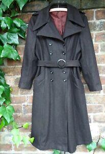 Vintage 1970s Chocolate Brown Belted Wool Maxi Coat