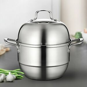 2 Tier 26cm Stainless Steel Steamer Cooker Pot Set Cook Food Veg Lid Handles