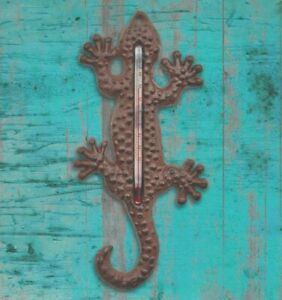 Cast Iron Lizard / Gecko Shaped Garden Thermometer Indoor or Outdoor Wall Room