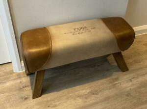 Leather & Canvas Bench Pommel Horse Dining Seat Dressing Table Hallway Bathroom