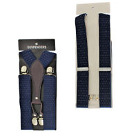 35mm Adjustable Navy with White Dots Mens Suspender Braces Y Shape Metal Clip On