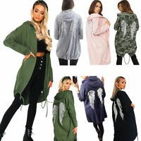 Women Ladies Free Soul Back Sequin Angle Wings Longline Hooded Cardigan Jacket