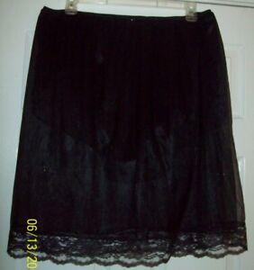BLACK Sheer Nylon 2 LAYER SLIP 3 LAYER PANTY Men's Sleeve GARTER Waist 38-56 **