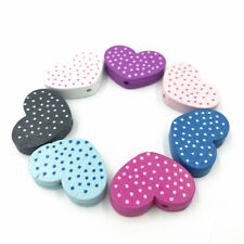 50pcs Mixed Heart-Shaped Spot Wood Bead Jewelry Accessories Wooden 25mm