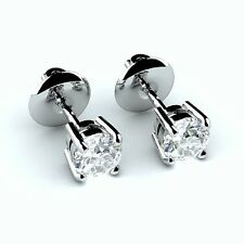 Sale..!! 0.70Ct Round Diamond Stud Earring Screw Back in 18k White Gold