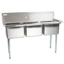 """54"""" 3-Compartment Stainless Steel Commercial Pot & Pan Sink without Drainboards"""