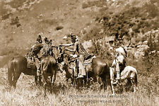 Large Reprint Vintage Native American Indian Photo CROW MEN TRIBE Riding HORSES