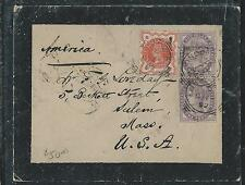 GREAT BRITAIN (P0806B) 1892 QV 1DX2+JUBILEE 1/2D MOURNING COVER TO USA