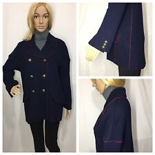 ZARA NAVY BLUE KNIT PIPED MILITARY THREE QUARTER LENGHT COAT SIZE XS