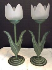Frosted Glass Metal base Candleholders