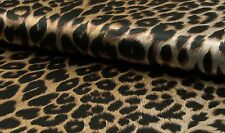 SCHWARZ/BEIGE SATINDRUCK LEOPARD ANIMAL PRINT SATIN STOFF STOFFE |D376@