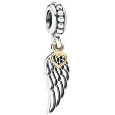 PANDORA Charm Element 791389 Angel Wing Herz Silber Gold Bead