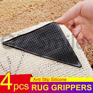 4x Grippers Non-Slip Anti Skid Rug Carpet Mat Reusable Washable Silicone Grip