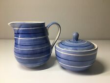 More details for tea clipper by whittard blue & white striped jug and sugar pot: see description!