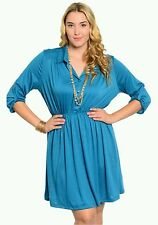 New Plus Size 1X 16/18W Woman Button Shirt Dress 3/4 Sleeve Casual Empire Waist