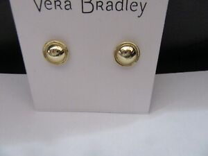 Vera Bradley Mod Elegance Stud Earrings-  round Gold Tone -post back