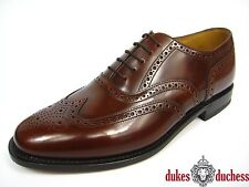 Loake Mens Brown 202t Brogue Leather Shoes Lace up Smarts Formal Dress Low UK 11