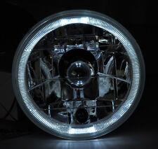 "5.75"" Clear Halogen H4 White Halo Angel Eye Headlight Conversion w/ Bulbs EURO"