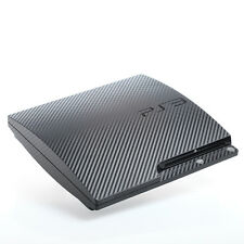 NERO Carbonio PS3 SLIM CON TEXTURE pelle-Full Body Wrap-Decalcomania Adesivo Cover