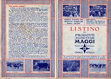 """Werbung 1936 """"LISTINO DEI PRODOTTI ALIMENTARI MAGGI - CROCE STELLA"""""""