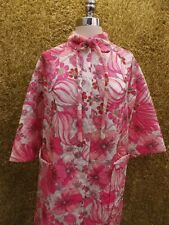 Unworn? Vtg 1960s Groovy Pink Floral Quilted Knee Length Button Down Robe Sz 14