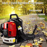 52CC Full Crank 2-Cycle Gas Engine Backpack Leaf Blower 530CFM 248MPH w/ Tube