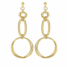 Heritage Gold 14kt Yellow Gold Graduated Textured Round Shape Drop Earrings