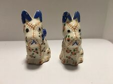 VINTAGE SCRAPPY GINGHAM SCOTTISH TERRIER DOG SALT & PEPPER SHAKERS