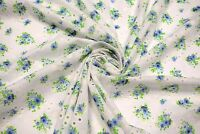 """Blue Perforated 100% Cotton Lawn Fabric Floral Embroidered 54""""W Sheer Apparel"""