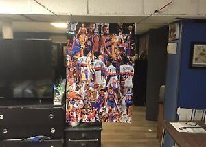 HUGE 44x30 Detroit Pistons Vinyl Banner Poster Bill Laimbeer Isiah Thomas Art