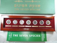 The Seven Species Coins 5 Bronze 2 Pure Silver 27mm Ea. W/box and COA