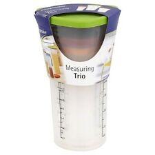 Progressive Measuring Cup Trio W/ Lids Easy Hold 1, 2 & 4 Cup Standard & Metric