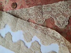 WOW !   Wide Alencon French Antique Lace Trim vintage edging