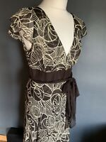 Phase Eight Brown Floaty V Neck Silk Dress Size 12 Wedding Art Deco
