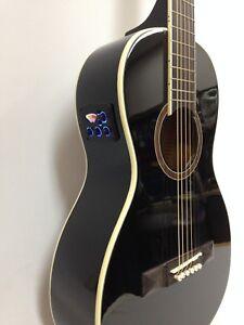 Caraya Parlor-590 Parlor Acoustic Guitar,Built-in EQ & Tuner, Black+Free Gig Bag