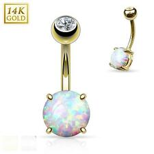 "14 Gauge 3/8"" Prong Set 8mm Synthetic Opal Stone 14K Yellow Gold Navel Ring B506"