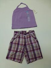 Childrens Place Girls 18-24 Months Purple Shirt & Plaid Shorts Outfit New