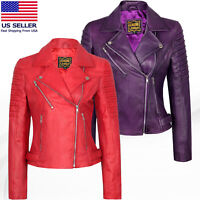 Women's Motorcycle Biker Real Leather Jacket Lambskin Leather Top Slim fit S-3XL