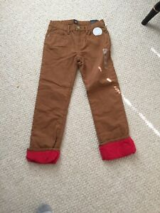 *NWT BOY'S GAP WINTER Red Fleece LINED Brown PANTS Size 12 ADJUSTABLE WAIST