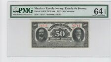 Mexico Revolutionary, Estado de Sonora 50 Centavos 1915 P# S1070   PMG 64 EPQ