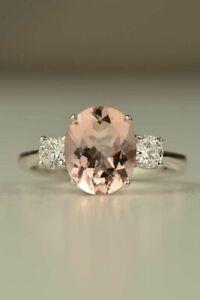 Elegant 925 Silver Morganite Sapphire Ring Wedding Women Fine Jewelry Size 6-10