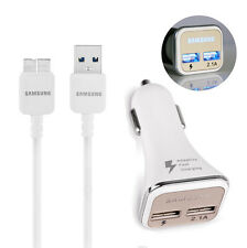 OEM USB 3.0 Data Cable + 2.1A Dual Port CAR CHARGER for Samsung Galaxy S5 Note3