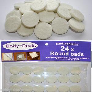24 Cream Floor Protectors for Wooden Oak Pine Furniture Felt Round Pads