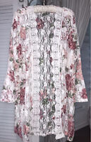 NEW Plus Size 2X Ivory Open Kimono Lace Duster Jacket Floral Crochet Topper
