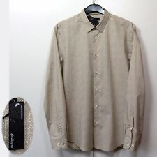 M&S AUTOGRAPH Mens PURE COTTON Fitted LONG SLEEVE SHIRT ~ Size S ~ BEIGE Mix