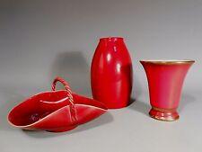 Group of 3 German & Austrian Oxblood Porcelain Items Scheurich & Keramos 20th c.