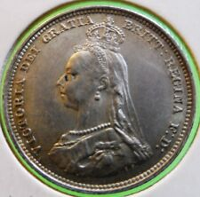 aUNC England 1887  Shilling SILVER