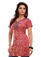Women Fashion Indian Short Kurti Printed Red Tunic Kurta Top Shirt EXE04HC