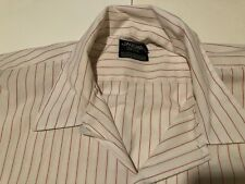 Jaguar Collection 4XLT White Button Front Shirt Pink Pinstripe Big And Tall